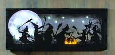 Halloween Lighted Witches Dance Canvas Over Wood Frame Wall Decor