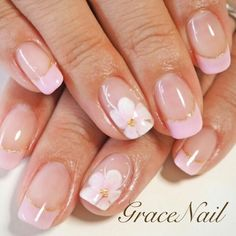 French Manicure Nail Designs, French Tip Nails, Nail Manicure, Nail Art Designs, Peach Nails, Blue Nails, My Nails, Spring Nail Art, Spring Nails