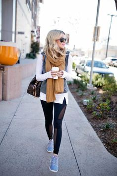 Here's How to Get Away With Wearing Sweatpants All Winter Long---just add vests & scarves!