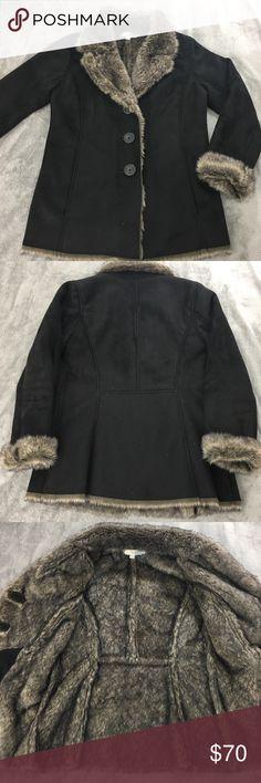 "Boden Faux Suede/Faux Fur Jacket Women's size 8 black faux fur lined/faux suede coat. 2 side pockets.   Arm length 23"" cuffed, 24"" uncuffed. Underarm to underarm 20"". Approximately 28"" long. Boden Jackets & Coats"