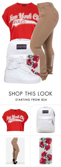 """Untitled #145"" by itsteresa ❤ liked on Polyvore featuring Topshop, JanSport, Casetify and NIKE"