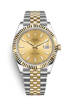 Discover the Datejust 41 watch in Yellow Rolesor - combination of 904L steel and 18 ct yellow gold on the Official Rolex Website. Model: 126333