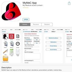 'MyMeC App' on the App Store  How important is your health to you?  Record your pertinent medical information on your phone using the 'MyMeC App' from the App Store.   https://itunes.apple.com/gb/app/mymec-app/id887185152?mt=8  Keep fit, stay healthy and on top of your medical records,   Sadé Tolani