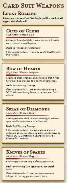 Here's some filler magic weapons while I work on more world-building help things. These were half designed by me, half designed by a friend, you know who you are. Anyway, they're really fun and were just as fun to make. So YOU have fun with them as...