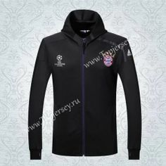 2016-17  Bayern München UEFA Champions League Black Soccer Hooded Thailand Jacket