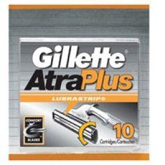 Gillette atra plus shaving cartridges with lubra-smooth strip cartridges - 10 ea