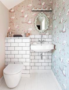 Image result for cloakroom toilet lighting Small Downstairs Toilet, Small Toilet Room, Downstairs Cloakroom, Bathroom Small, Boho Bathroom, Family Bathroom, Master Bathroom, Flamingo Wallpaper, Bathroom Wallpaper