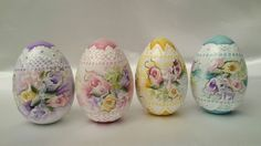 Hand Painted 4 Wooden Eggs Easter Cottage Chic Shabby Roses Hydrangeas Lace HP in Collectibles | eBay