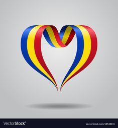 Romanian flag heart-shaped ribbon vector image on VectorStock