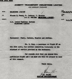 Complimentary Letter Ansett 1973, image Jenny Burrows Australian Airlines, Office Memo, Norfolk Island, Airline Travel, Lettering, Image, Air Travel, Drawing Letters, Texting