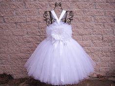 Tutu Dress LITTLE WHITE PEARLS Full Fluffytop Baby by ElsaSieron, $79.00