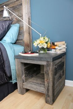 Bedside table and headboard made from 80+ year old reclaimed barnwood from Missouri.  www.burdittray.com