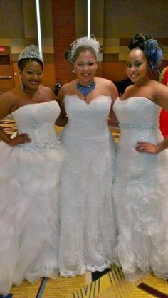 Backstage with our lovely plus size models wearing Demetrios Couture Bridal gowns.  2013 Black Bride Bridal Show!