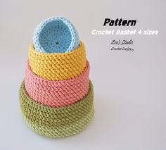 Crochet basket 4 sizes crochet pattern easy Crochet by EvasStudio Crochet Basket Pattern, Easy Crochet Patterns, Knitting Patterns, Crochet Baskets, Crochet Ideas, Easy A, Crochet For Beginners, Sewing For Beginners, Square Baskets