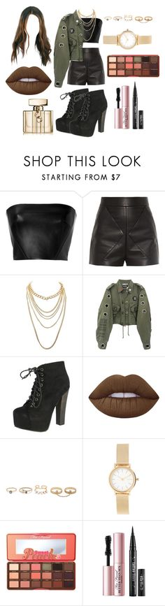 """""""Untitled #2138"""" by inocorbe ❤ liked on Polyvore featuring David Koma, Balenciaga, Charlotte Russe, Breckelle's, Lime Crime, LULUS, Skagen, Too Faced Cosmetics and Gucci"""