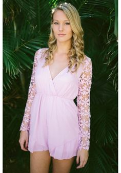 pink deep v neck playsuit with lace long sleeves