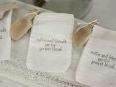 Rustic Wedding Favor Bags Coffee Theme With Wood Scoop SET of 50. $82.50, via Etsy.