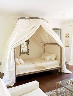 Love this dreamy Louis style canopy bed, and bedroom in shades of cream and gold  (via ZsaZsa Bellagio: Home, Sweet, Sweet Home!)