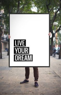 "Art Digital Print Poster ""Live your dream"" Modern Wall Art Printable Typography, Inspirational Quote Poster, Instant Download DIY PRINT"
