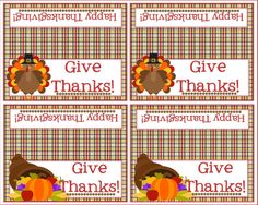 Thanksgiving Bag Topper  Give Thanks  Happy by Pinkowlpartydesign