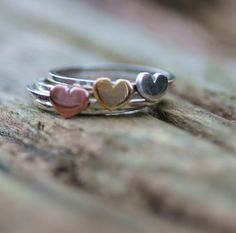 Handmade skinny ring set, with copper or brass or sterling silver hear – hearts of brass
