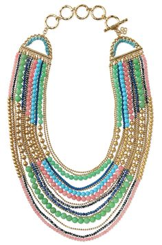 Stella & Dot colorful & gold beaded bib necklace