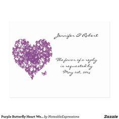 Purple Butterfly Heart Wedding RSVP