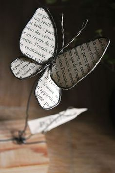 Wire & Book Page Butterfly