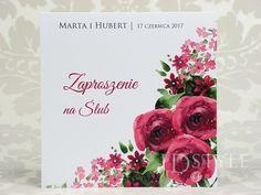 Zaproszenia ślubne kwiatowe bordowe róże Weddings, Wedding, Mariage, Marriage, Casamento