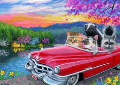 Kittens cat raccoon skunk car spring lake drive original aceo painting art #Miniature