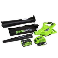Greenworks 185 MPH Variable Speed Cordless Leaf Blower/Vacuum, Battery and Charger Included 24322 Riding Lawn Mowers, Cordless Vacuum, Lead Acid Battery, Leaf Blower, Variables, Wet And Dry, Lawn And Garden, Garden Tools, Gardening