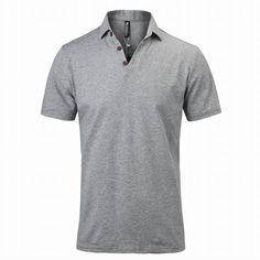Sale 26% (23.32$) - Mens Sports Grey Short Sleeved V Neck Button Collar Polo Shirts