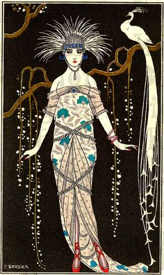Illustration Art Vintage - ART DECO Woman Print with Feathers Hair and White Peacock by Barbier - Best Art Pins Arte Art Deco, Moda Art Deco, Art Deco Artists, Estilo Art Deco, Art Deco Print, Art Deco Design, Art And Illustration, Fashion Illustration Vintage, Fashion Illustrations