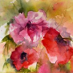 Belles rouges - Painting,  20x20 cm ©2011 by Véronique Piaser-Moyen -