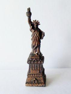 Vintage Statue of Liberty New York Souvenir 1940's Bronze via Etsy