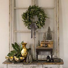 The Elegant Chateau: Elegant White Christmas (Love the faux window & wreath). Noel Christmas, Primitive Christmas, Christmas Fashion, Country Christmas, Winter Christmas, Vintage Christmas, Christmas Wreaths, Christmas Crafts, Christmas Decorations