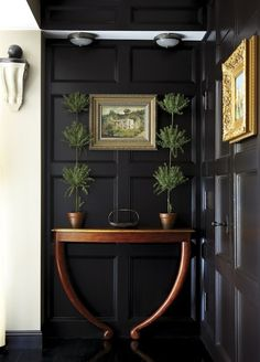 black walls, mouldings, wood and green