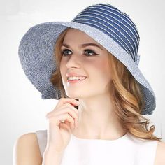 Navy striped straw sun hat with bow for women UV summer hats 450578012236