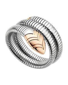 bvlgari bulgari inspired serpenti tubogas 14ct pinkrose gold and stainless steel bracelet