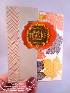 happy thanksgiving cards stampin up | Happy Thanksgiving Label Card Thinlit