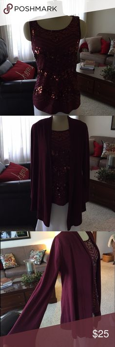 EUC Classy Sequin Twin Set in Burgundy Wine! Twin set with sequin tank and long sleeve jacket . Looks amazing on! Tank is a small, jacket is a medium. I advertised as a small because I think the tank fits true to size. The jacket could be worn with another top very easily (make 2 outfits!) works well in all seasons! **These are both from Cato, but I listed here for exposure. Chico's Tops Tank Tops