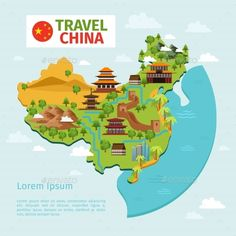 China Travel Vector Map With Traditional Chinese - Miscellaneous Vectors