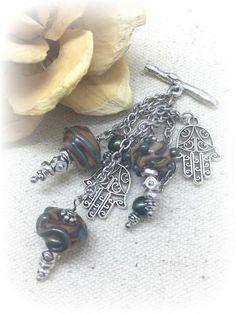 Henna Hand & Glass Lampwork Bead Necklace #1010D