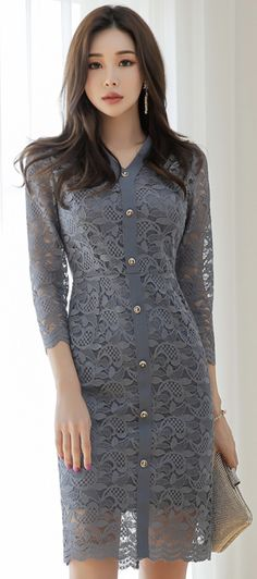 StyleOnme_Gold Button Slim Fit Lace Dress #gray #lace #feminine #dress #koreanfashion #kstyle #kfashion #datelook #springtrend