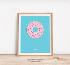 Printable wall art print - 8x10 INSTANT DOWNLOAD - classic pink doughnut with sprinkles and frosting on a blue background