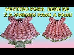 vestido a crochet - ganchillo - para bebe / crochet baby dress - YouTube