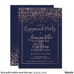 Rose gold confetti navy blue typography engagement invitation Rose gold confetti navy blue typography engagement party for wedding ❤ Affiliate ad link. Customize these invitations / products for your weddings. Elegant Wedding Invitations, Typography Wedding Invitations, Sweet 16 Invitations, Engagement Party Invitations, Wedding Stationery, Graduation Invitations, Invitations Online, Wedding Frames, Wedding Cards
