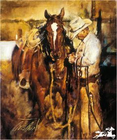 Chris Owen Artist Cowboy and Western Art Prints capture the ranch style life in all it detail. Cattle drives, Horses and more. Chris Owen, Westerns, Arte Equina, Cowboy Horse, Cowboy Western, Into The West, West Art, Cow Girl, Equine Art