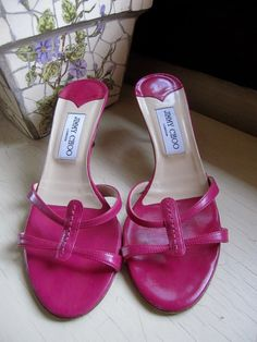 newest 29d30 75a54 Jimmy Choo Pink Leather Strappy Heeled Slide Sandals EUR 39 US 8-8.5  Zapatillas,. ZapatillasCuero ...