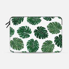 Tropical Green Watercolor Painted Swiss Cheese Plant Leaves - Macbook Sleeve